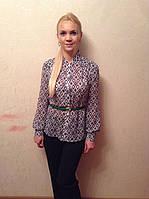Блуза в ромбик , воротник стойка, фото 1