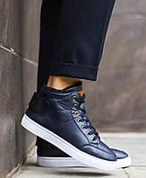 Мужские зимние ботинки в стиле timberland, темно-синие ботинки на меху, фото 1