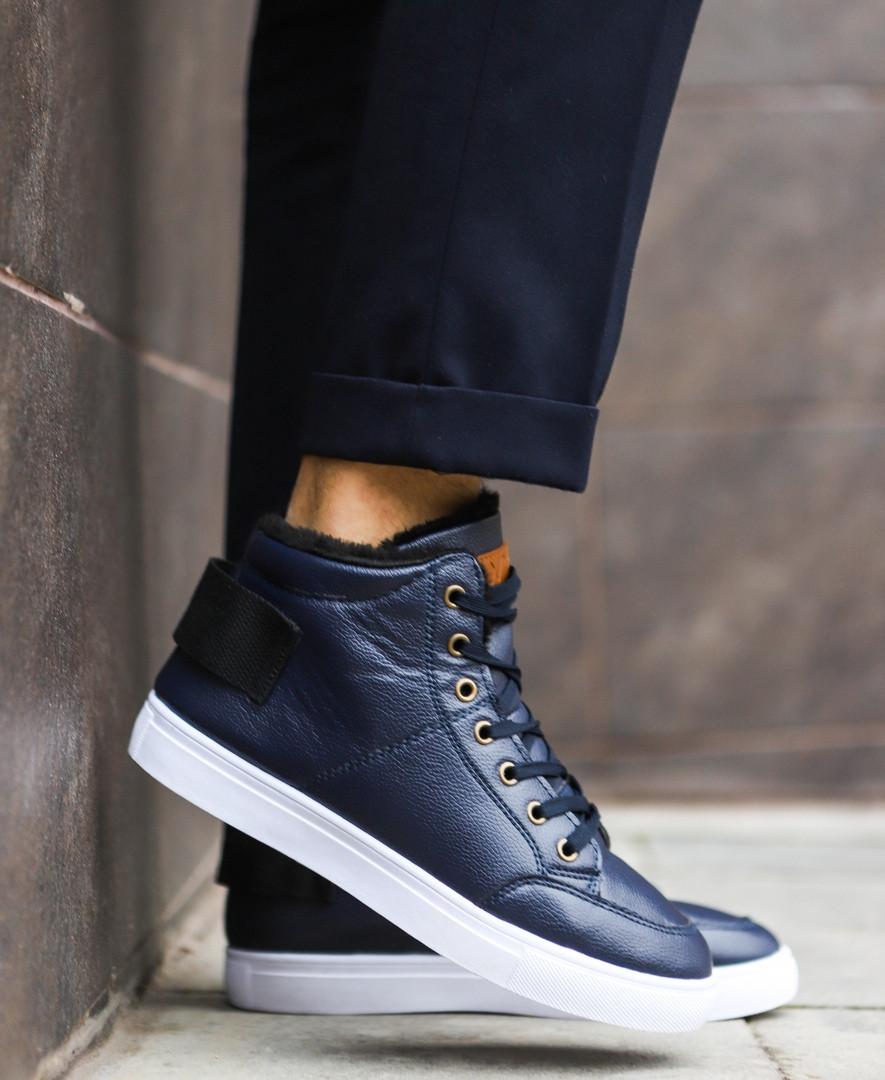 18947d683b49 Мужские зимние ботинки в стиле timberland, темно-синие ботинки на меху -  Брендовый магазин