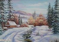Зимний пейзаж картина маслом.
