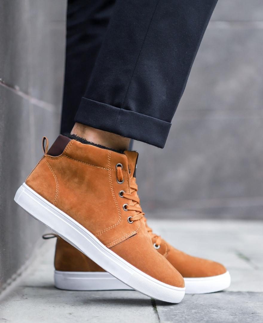 Мужские зимние ботинки  (рыжие), классические ботинки с белой подошвой