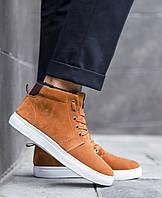 Мужские зимние ботинки  (рыжие), классические ботинки с белой подошвой, фото 1