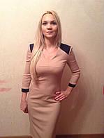Платье бежевое с синими вставками, фото 1