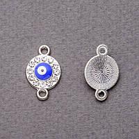 Фурнитура подвеска коннектор в стразах Глазок 1,1х1,8см серебристый фас.3шт