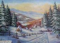 Зимний пейзаж. Картина маслом.