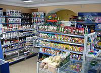 Новые торговые стеллажи для магазина зоотоваров. Пристенные стеллажи, фото 1