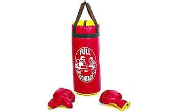 Боксерский набор детский (перчатки+мешок) L PVC UR (красный)