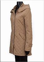 Пальто стеганное женское весенние бежевий цвет
