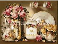 """Алмазная вышивка """"Кухонный сервиз с цветами"""""""