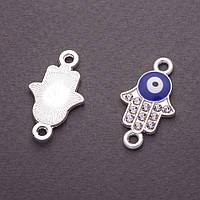"""Коннектор """"Ладонь"""" глаз синяя эмаль серебристый металл в стразах 2,5х1,4см фас.4шт"""
