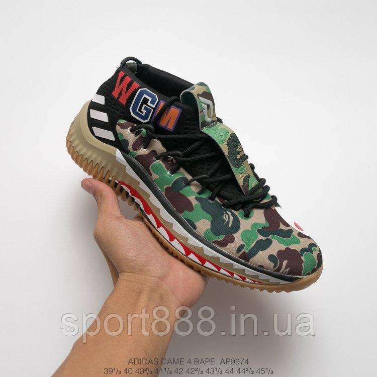 d3eb2efe825 Bape X Adidas Dame 4 Camo Green мужские кроссовки - sport888 в Николаеве