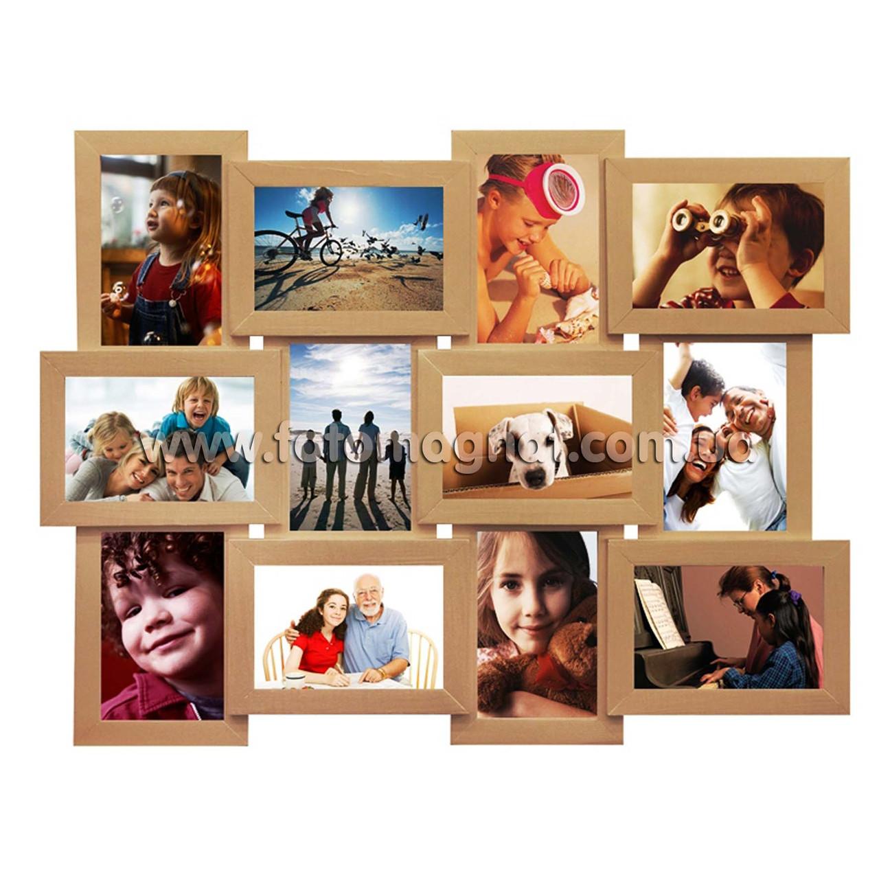 """Деревянная мультирамка на 12 фото """"Руноко 12 Бежевая"""" с рельефной отделкой (фоторамка коллаж 62 х 50 см)"""