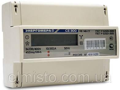 Электросчетчик Энергомера CE 300 R31 146 J 5(100)А трехфазный однотарифный на динрейку