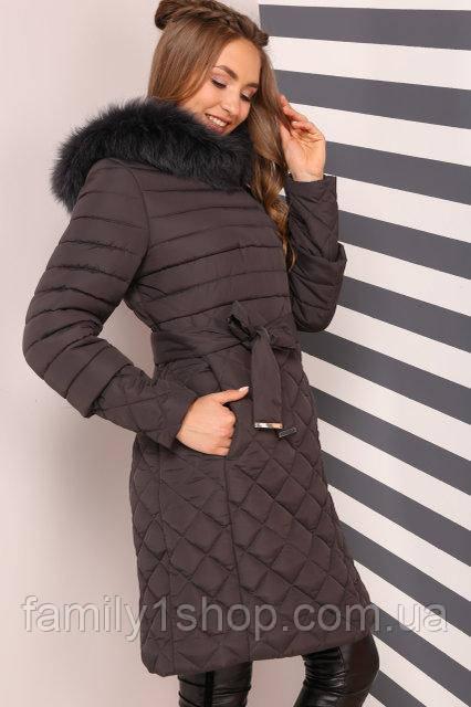 8c0785f5a92d Теплое женское зимние полупальто с красивым натуральным мехом ...