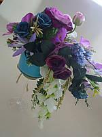 """Бирюзовая ваза с синими розами """"Тропикана"""""""