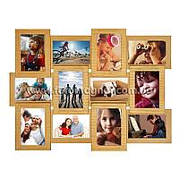 """Деревянная мультирамка на 12 фото """"Руноко 12 - Золото с рельефной отделкой художником"""" (фоторамка коллаж 62 х 50 см )"""