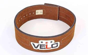 Пояс для пауэрлифтинга кожаный профессиональный с застёжкой-автомат VELO