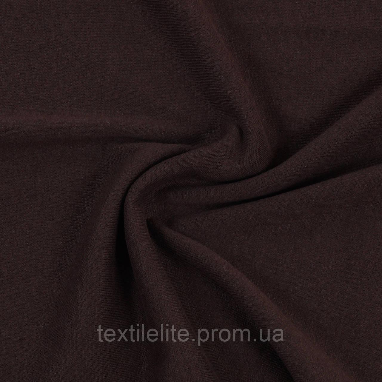 Ткань трикотажная кулирная гладь коричневая «Шоколад». Трикотажное полотно в рулонах. Хлопок 100%