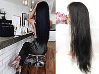 Длинный парик на сетке с шелком из натуральных волос