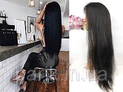Парик черный из натуральных волос длинный женский