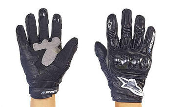 Мотоперчатки кожаные с закрытыми пальцами и протектором Alpinestars (р-р M-XL) PM-8