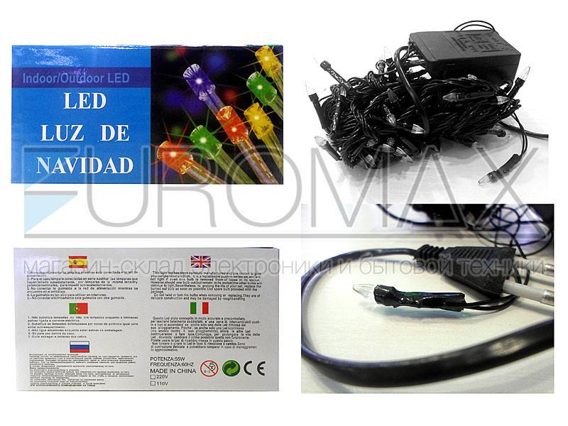 Гирлянда с черным проводом и прозрачной конической лампой 100LED (синий) 100шт LED100B-2