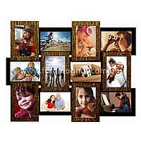"""Деревянная мультирамка на 12 фото """"Руноко 12 - Черный Шоколад"""" (фоторамка коллаж 62 х 50 см)"""