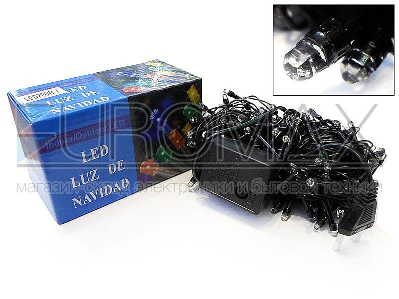 Гирлянда с черным проводом и лампой Рубинка 500LED (микс) 25шт LED500M-7