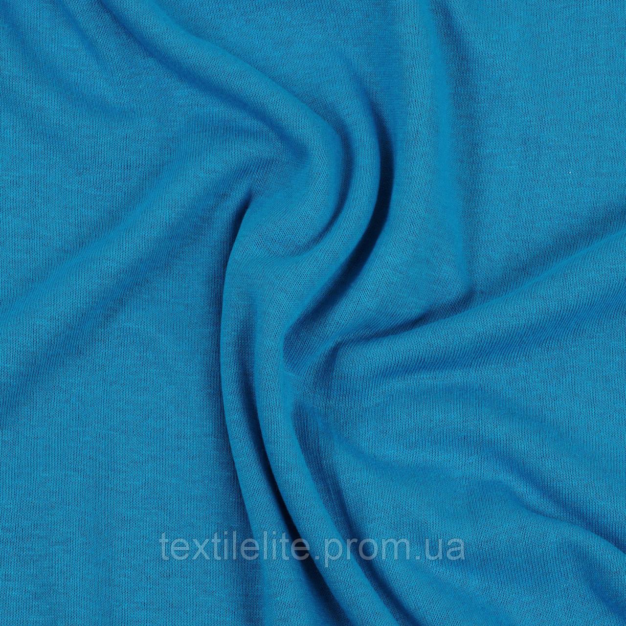 Кулирная гладь ткань оптом, синий светлый, 100% хлопок, Турция