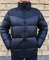 Мужской зимний черный пуховик в стиле Nike с воротником стойкой 46 размер
