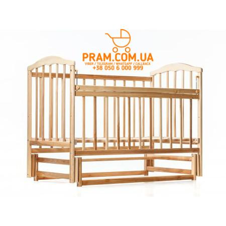 Детская кроватка Мамина Ласка Чайка натуральная Ольха маятник + регулируемая боковина