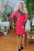 """Яркое платье с перфорированой"""" кожей"""" коралл, фото 1"""