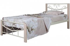Кровать металлическая с деревянными ножками -Миллениум Вуд (бежевая)0.9м.