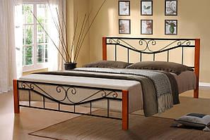 Ліжко дерев'яне з кованими вставками - Міленіум Вуд (чорна)