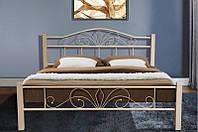 Кровать металлическая с деревянными ножками -Релакс Вуд (бежевая)