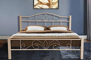 Ліжко металеве з дерев'яними ніжками -Релакс Вуд (бежева)