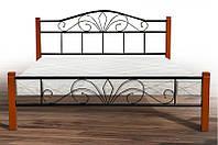 Кровать металлическая с деревянными ножками -Релакс Вуд (черный)
