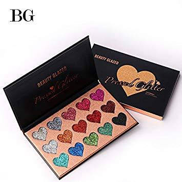 Beauty Glazed Pressed Glitter 15 extremely tiny glitter shadows набор глиттеров 15 цветов, фото 2
