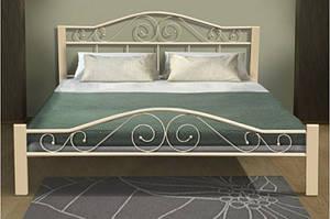 Ліжко металеве з дерев'яними ніжками в стилі прованс - Респект Вуд (бежевий)1,6 м