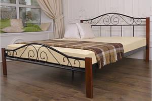 Кровать металлическая с деревянными ножками -Респект Вуд (черная)0,9м