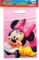 """Пакети подарункові, сумочки поліетиленові дитячі для подарунків """"Мінні Маус"""", 10 штук"""