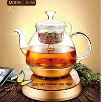 Стеклянный электрический чайник Kamjove для заваривания чая 900 мл.