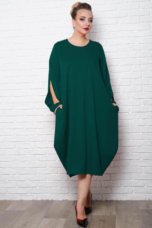 Батальное свободное платье  Доменик, изумрудный