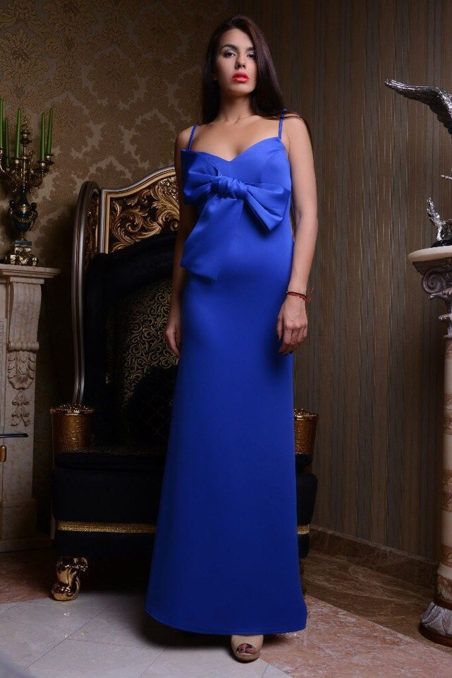 Платье микродайвинг длинное