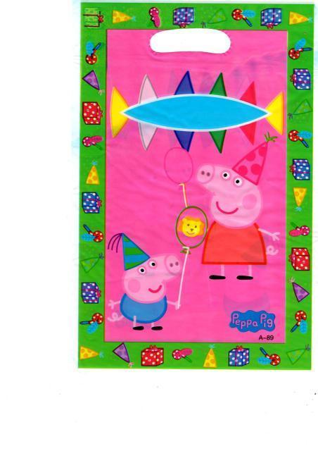 """Пакети подарункові, сумочки поліетиленові дитячі для подарунків """"Свинка Пеппа"""", 10 штук"""