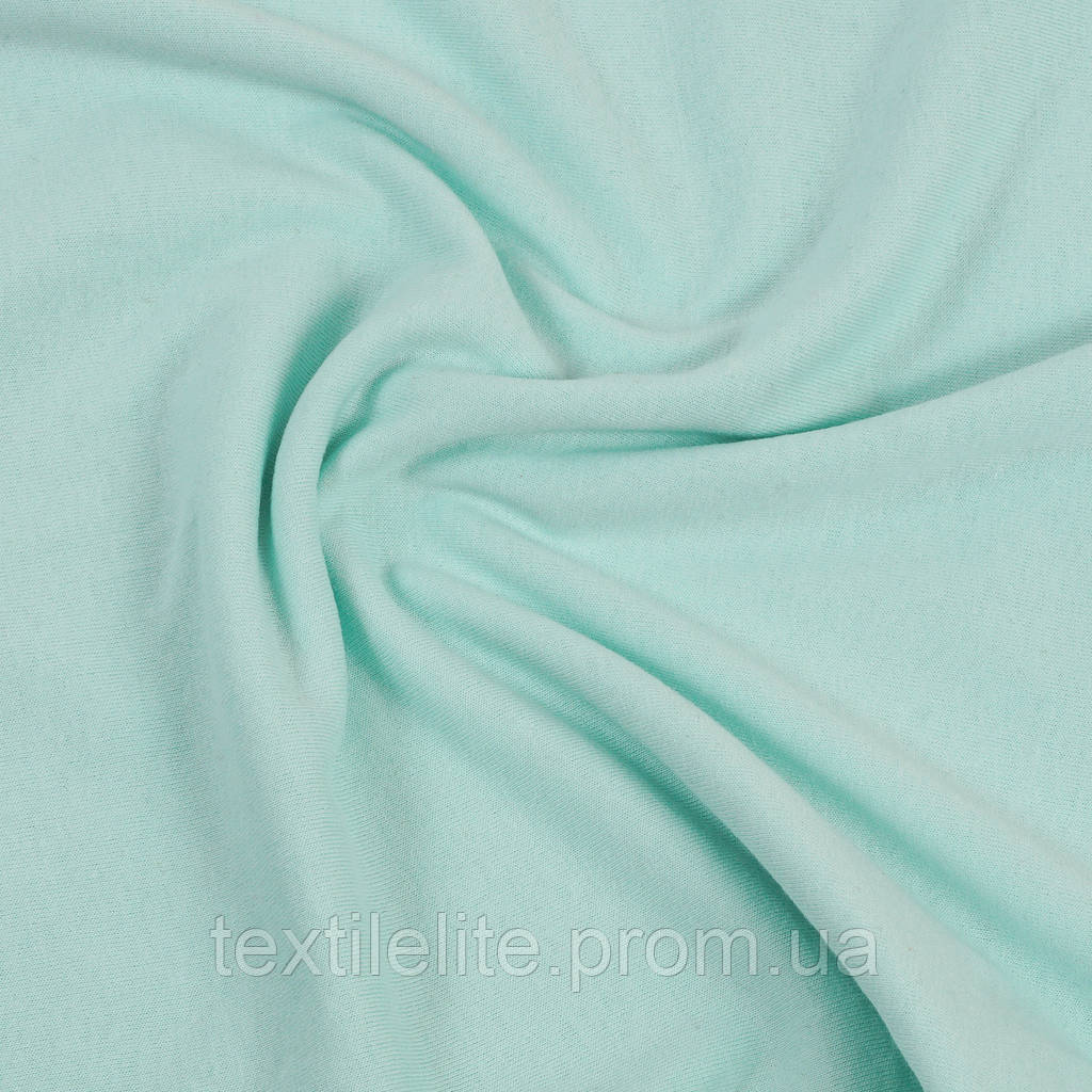 Кулир — цвет Ментол. Трикотажная ткань кулирка хлопковая 100%