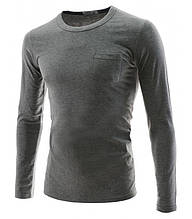 Универсальная мужская футболка с длинным рукавом, цвет серый, черный