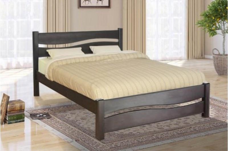 Кровать двухспальная из массива сосны -Волна (1,6*2000) темный орех