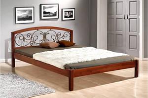 Кровать из массива ольхи с элементами ковки -Джульетта(1,6 м)