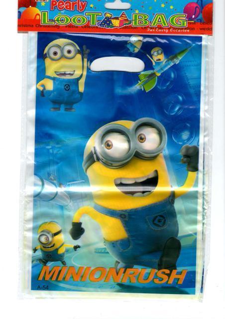 """Пакеты подарочные, сумочки полиэтиленовые детские для подарков """"Миньёны"""",10 штук"""